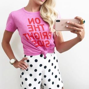 J. Crew On The Bright Side Bright Pink Graphic Tee